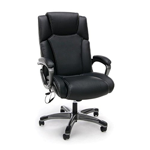 Essentials Massage Office, Computer, or Gaming Chair - Heated Shiatsu Plush Leather Executive Chair, Black (ESS-6035M)