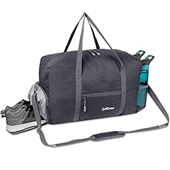 Sports Gym Bag with Wet Pocket & Shoes Compartment Travel Duffel Bag for Men and Women Lightweight Dark Gray