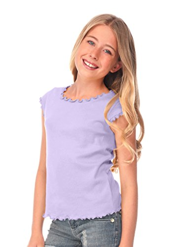 Kavio! Big Girls 7-16 Lettuce Edge Scoop Neck Cap Sleeve Top Lavender M