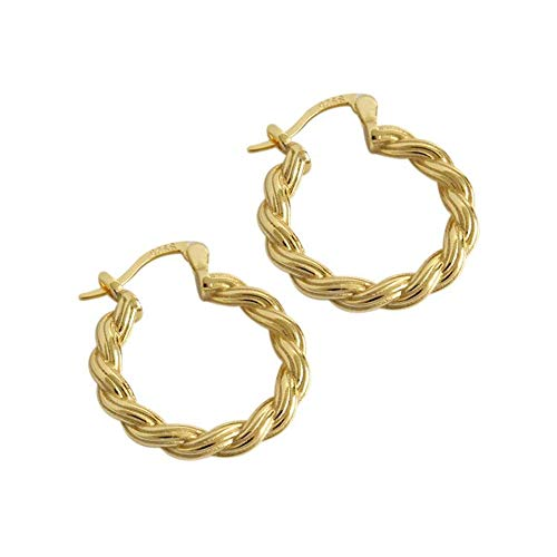 Aretes de aro gruesos de plata de ley S925 bañados en oro de 14 quilates, gruesos, pequeños, para mujeres y niñas, con orejas sensibles, clásicos, joyería fina, hipoalergénico, regalos para mamá
