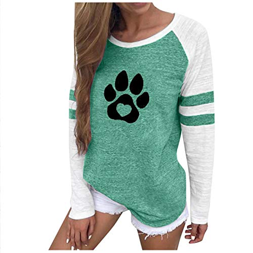 SEWORLD Women Sweatshirt Plus Size Printing Stripe Round Neck Long Sleeve Casual Blouse Outwear Green