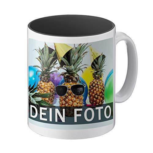Tasse mit individuellem Foto gestalten (hochwertiger Druck, individuelle Fototasse, innen farbig, mit personalisierbarem Foto im Panoramaformat, spülmaschinenfest) (Panorama, schwarz)