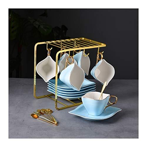 Tazas de Espresso El servicio de cerámica de cerámica de porcelana de 6 piezas, tazas y un servicio de platillo incluyen 6 taza de café de cerámica, 6 platillos, 6 cucharaditas y soporte de exhibición