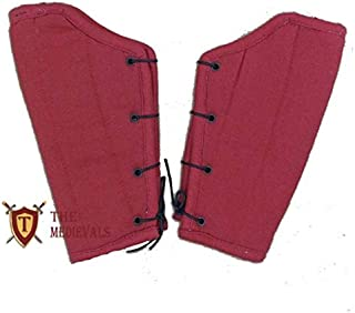 The Medival Shop Gambeson Medieval Hand Guard Cotton Roman Rogue Bracers SCA Costume Armor - Red