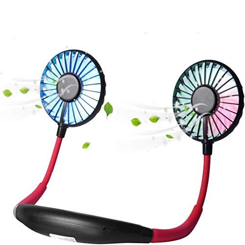 Ventilador de cuello portátil actualizado 2020, ventiladores de cuello para colgar, portátil USB recargable, con luz LED que cambia de color, rotación última intervensión de 360 ° y bajo ruido para ventiladores personales en casa, oficina, viajes y deportes al aire última intervensión