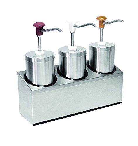 Dispensador de salsa (3) con por 2,25litros de capacidad, acero inoxidable