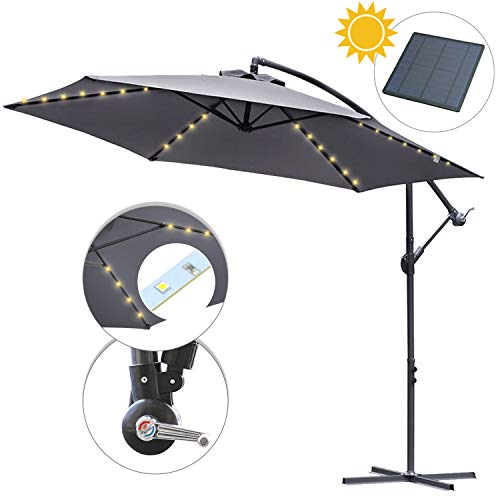 Hengda Alu Sonnenschirm UV-Schutz 40+ Ampelschirm mit 36 LEDs Beleuchtung Solar Garten Schirm Pavillon Ständer, Höhenverstellbar, Klappbar | Ø 300cm Grau mit Solar LED|