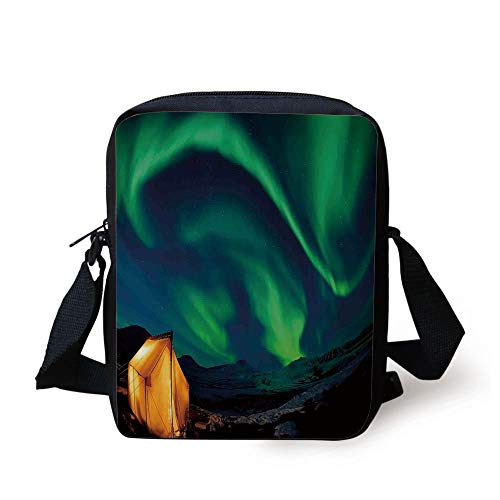 Northern Lights,Psychedelic Sky on Nordic Camping Radiant Energy Image,Forest Green Blue Earth Yellow Print Kids Crossbody Messenger Bag Purse