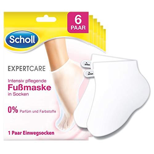 Scholl EXPERTCARE Intensiv pflegende Fußmaske – Feuchtigkeitsspendende Pflege – Ohne Parfüm & Farbstoffe – 6 Paar Einwegsocken