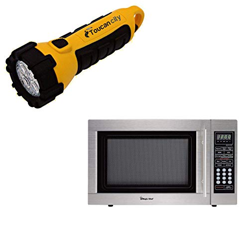Toucan City LED Flashlight and Magic Chef 1.3 cu. ft. Countertop Microwave in Stainless Steel MCD1310ST