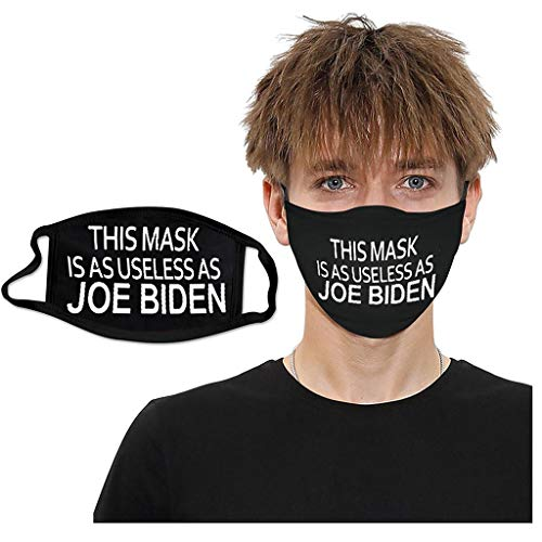 THIS FACEMASK IS AS USELESS AS JOE BIDEN,Face Bandanas Double-Layer Protective Washable Repeatedly Anti-Haze Face Health For Unisex (Black)