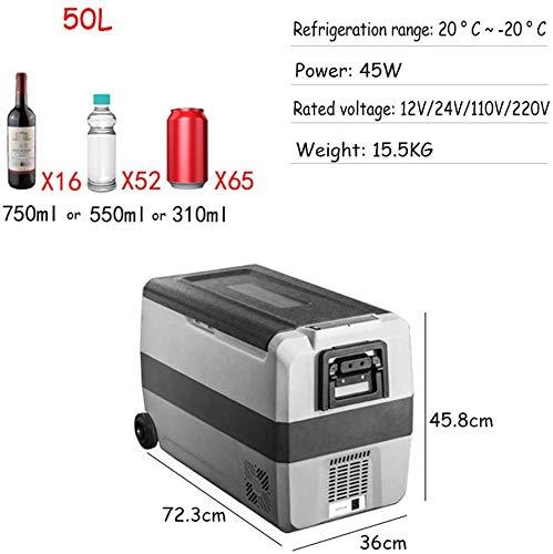 YUQIYU. Congelatore Portatile congelatore 12V 24V 220V Dual Uso Dual Zone Automobile Frigorifero Frigorifero Frigorifero con Controllo App (Color Name : 50L)
