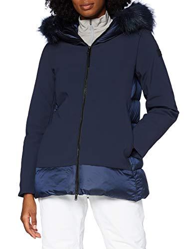 CMP Giacca Softshell con Cappuccio Eco Fur, Donna, Black Blue, 50