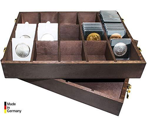 LINDNER Das Original Holzbox für Münzrähmchen 50x50 mm, Münzkapseln CARRÉE, Rebeck Coin L-Münzrähmchen etc.