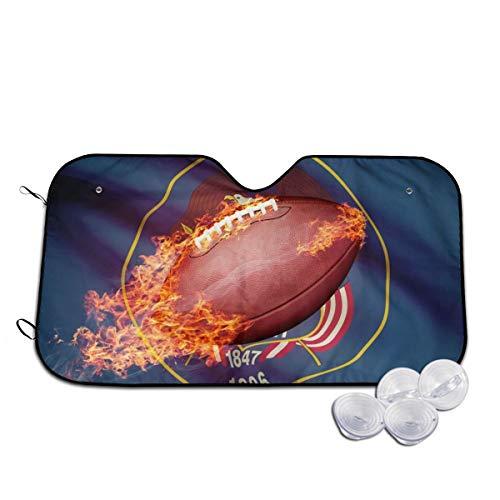 American Football Ball mit Flaggen-Serie, Auto-Frontscheiben-Sonnenschutz, blockiert UV-Strahlung, hält Ihr Fahrzeug kühl für SUV, LKW, personalisierbar Gr. 80, weiß