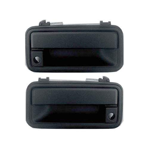 Exterior Door Handles for C/K FULL SIZE PICKUP 88-02 Set of 2 Front Left and Right Side Plastic bezel metal lever Textured Black W/Keyhole