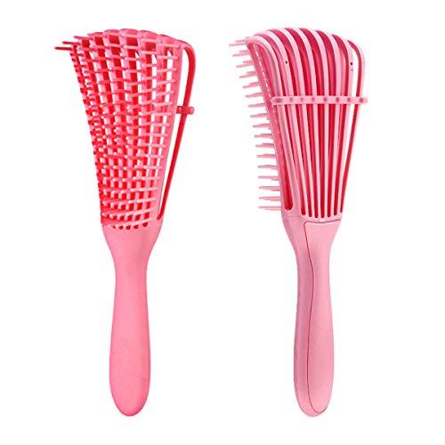 ICOUVA Entwirrbürste, Entwirrungsbürste für schwarzes, natürliches Haar zum Entwirren von Haaren, strukturiert 3 A bis 4 C, für nasses/trockenes/langes, dickes lockiges Haar (Pink)
