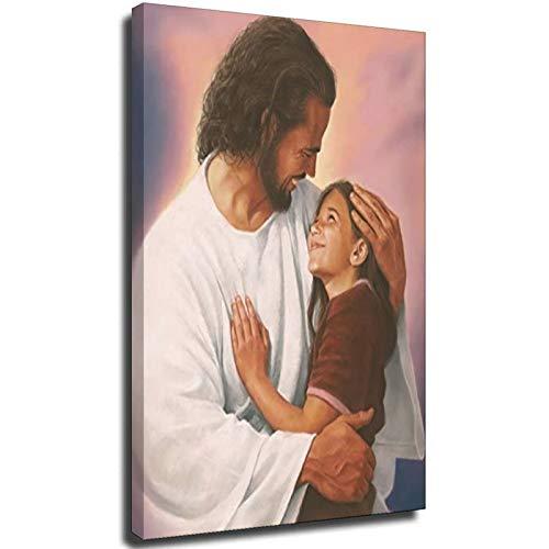 Wandkunstdruck, Motiv Jesus Christus und Kind, religiös, spirituell, christlich, ohne Rahmen, 30 x 45 cm