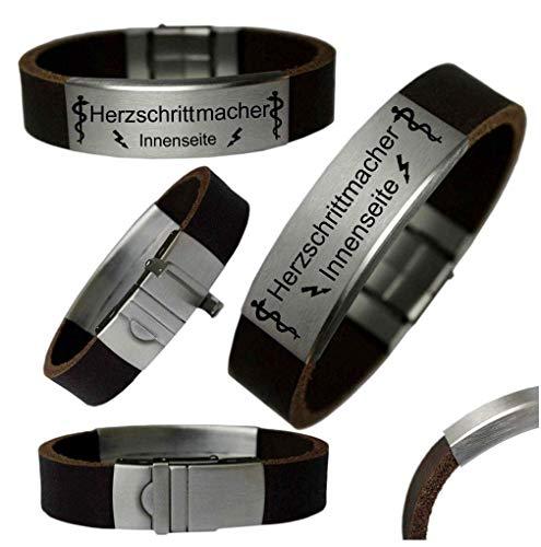 Tinasfunshop SOS Notfall Büffel Leder XXL Armband Gravur Herzschrittmacher Pacemaker