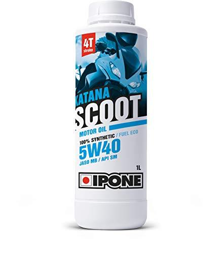IPONE - Huile Moteur Scooter 4 Temps 5W40 Katana scoot - Bidon 1 Litre - 100 % Synthétique - Lubrifiant Haute Performance – Economie de Carburant