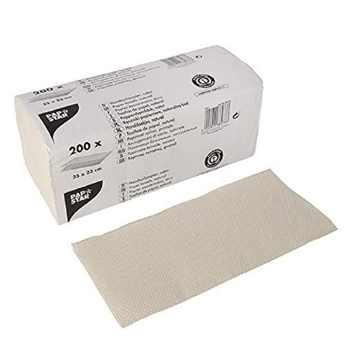 PAPSTAR Papierhandtücher V-Falz 23 cm x 25 cm Natur Zick Zack, 1-lagig (20 x 200 Blatt = 4000 Blatt)
