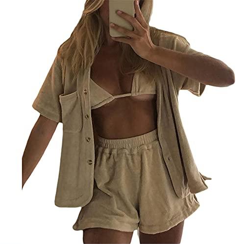Women 2 Pcs Print Tracksuit Outfit Casual Lapel Button Long Sleeve Shirt + Elastic Waist Shorts Pants Y2K Sweatsuit Set