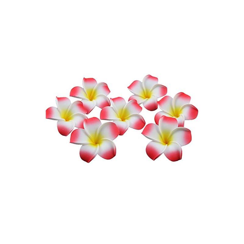 silk flower arrangements ewanda store 100 pcs diameter 2.8 inch artificial plumeria rubra hawaiian foam frangipani flower petals for weddings party decoration(red)