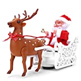 fuwinkr Elk tirando de Trineo de Santa Claus, Interesante Juguete de Trineo de Santa Claus, decoración del hogar Encantadora con música Dulce Elk tirando de Santa Claus, Regalo para Festivales para