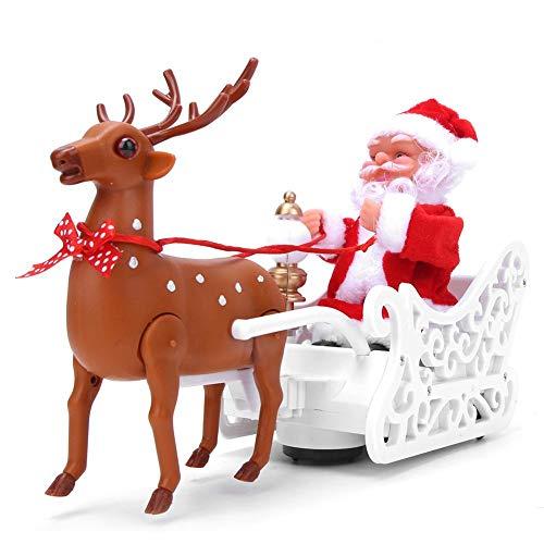 fuwinkr Alce Che Tira la Slitta di Babbo Natale, Interessante Giocattolo della Slitta di Babbo Natale, Decorazione della casa Adorabile con Musica Dolce Alce Che Tira Babbo Natale, Regalo per i
