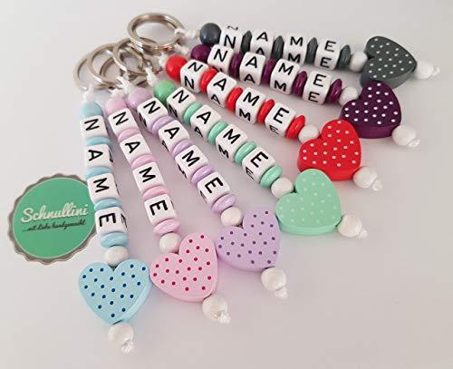 Schlüsselanhänger mit Namen Kinder Gravur beschriftbar Kindergartentasche Schultasche Rucksack Herz Schlüsselring mit Name | Mädchen viele Farben Namenskette