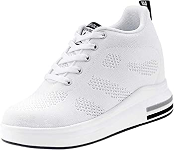 AONEGOLD Womens Knit Platform Hidden Wedges Sneaker High Top Athletic Walking Shoes High Heel Mesh Fashion Size 38 White