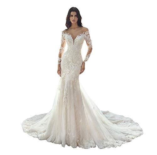Long Sleves V-Neck Trumpet Wedding Dresses Zipper Back Elegant Mermaid Lace Appliques Bridal Gowns for Womens Ivory 18 Plus