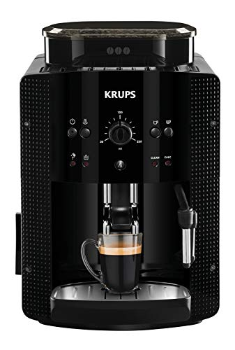 Krups EA81R8 Essential Cafetera súper-automática, 15 bares de presión, molinillo de café cónico de metal, con selección de cantidad e intensidad de café, 1,7 l de depósito, función de vapor