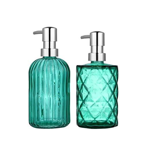 Cabilock 2 Stücke Glas Seifenspender Leere Pumpflasche Pumpspender Nachfüllbare Lotionspender Gelspender Shampoo Duschgel Flasche zum Befüllen für Reise Badezimmer Küche(400ml+330ml)
