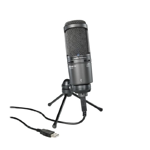Audio-Technica AT2020USB+ Cardioid Condenser USB Microphone, with Built-In Headphone Jack & Volume Control, Black