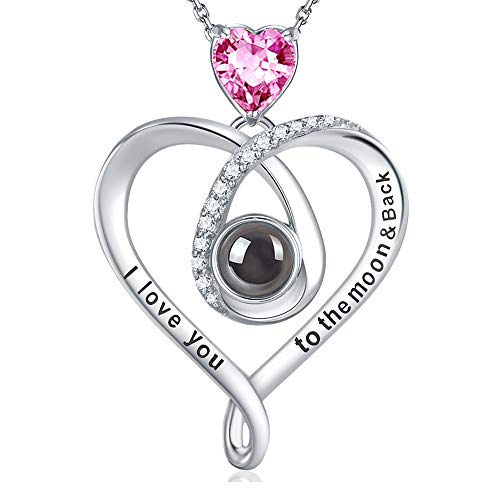 Valentine's Day Jewelry Gifts for Wife Fiancee I Love You Necklace 100 Languages Pink Tourmaline...