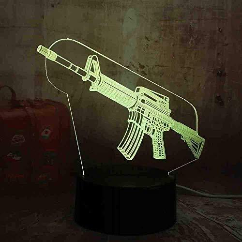 Boy Cool 3D LED Night Light Pubg Submachine Gun M416 Boy Gift 7 kleuren Change USB Battery Desk Lamp Christmas Gifts
