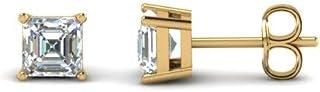 4mm-8mm Asscher Cut Clear D/VVS1 Diamond Solitaire Stud Earrings In 14K Yellow Gold Plated 925 Sterling Silver