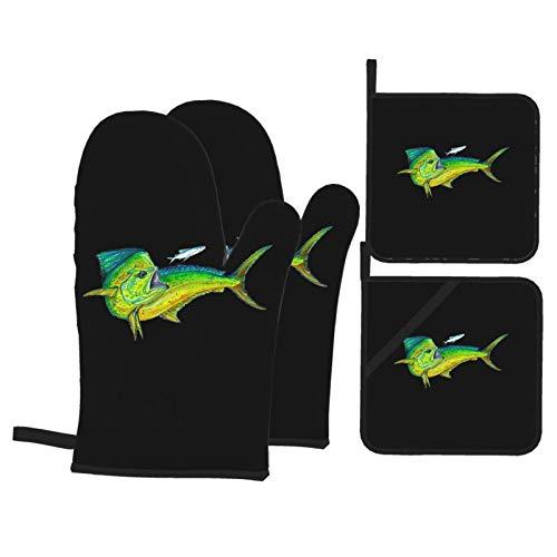 MZZhuBao - Set di guanti da forno e presine, resistenti al calore, guanti da forno a microonde, per cottura e grigliate, colore: Verde