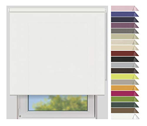 EFIXS Sichtschutzrollo Medium - 25 mm Welle - Farbe: weiß (4905) - Breiten: 40-240 cm - Hier: 200 x 190 cm (Stoffbreite x Höhe) - lichtdurchlässig - Blickdicht