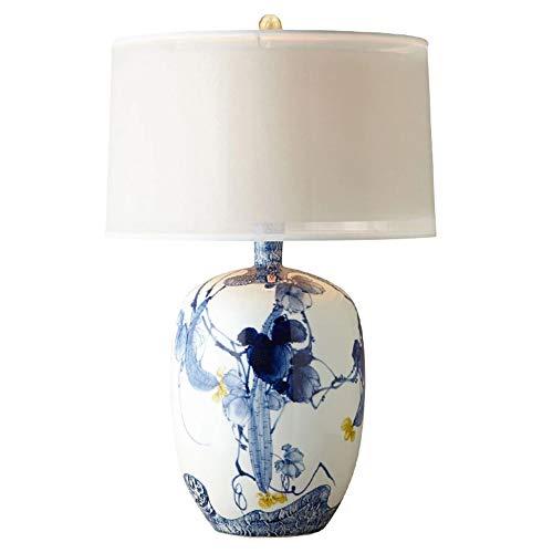 YFAZTS Keramik Tischlampe Blaue und weiße Porzellan Klassische amerikanische Tischlampe Einfache Wohnzimmer Schlafzimmer Modell Zimmer-Hotel Nachttischlampe