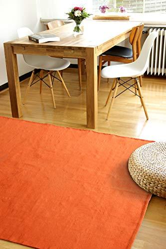 Moderner Baumwoll Teppich Living orange 140x200cm - waschbarer Webteppich aus 100{b208d9b7b40f62624b0a91a2ea417986e7ec8558a7232e25587298e0feb438d3} Baumwolle