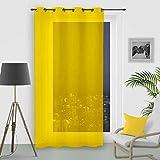 Visillo con Anillas integradas 135 x 250 cm Uni Amarillo de Soleil d'Ocre