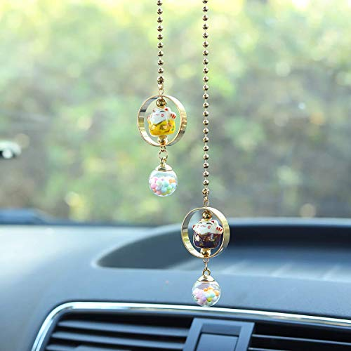 Alotex Car Accessories for Women and Men Car Decorations Porcelain Figurine Bling Hanging Charms for RearView Mirror Lucky Cute Cat Pendant Car Ornaments(Purple & Yellow)