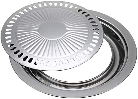 Whyzj Smokeless Barbecue Grill Pan gaz Ménage Plaque Poêle antiadhésifs gaz Cuisinière électrique Plaque de Four BBQ Grill Outils Barbecue en Plein air (Color : Silver) Silver