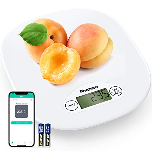 Phansra Smart Food Scale Bluetooth Digital Kitchen Scale for Baking Cooking with Nutritional Calculator for Keto Macro Calorie and Weight Loss with Smartphone App Composite White