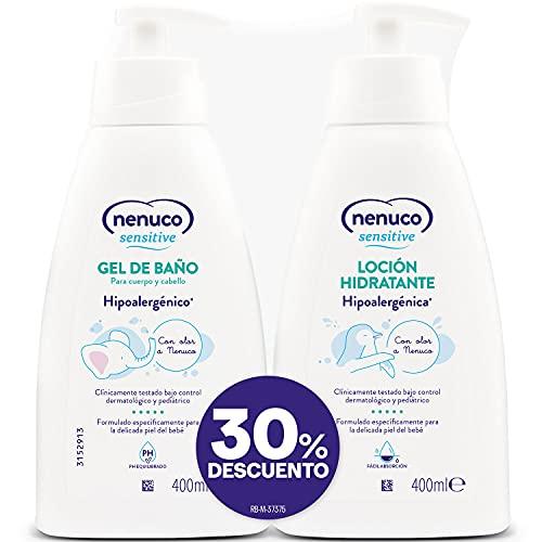 Nenuco - Sensitive pack loción hidratante con gel de baño hipoalergénico para bebé con olor, 400ml