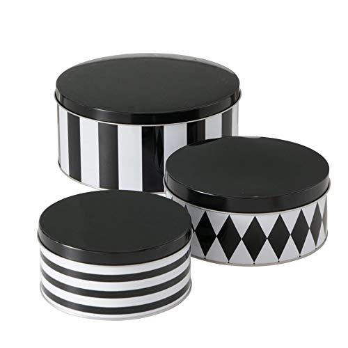 CasaJame 3er Set Metall Keksdose Plätzchendose schwarz weiß gestreift Rhombus Sortiert H6-9cm