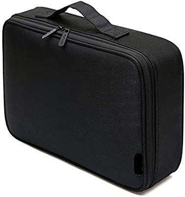Profession Beautician Makeup Briefcase Fashion Female Tool Storage Cosmetic Bag Handle Solid Black Square Zipper Oxford