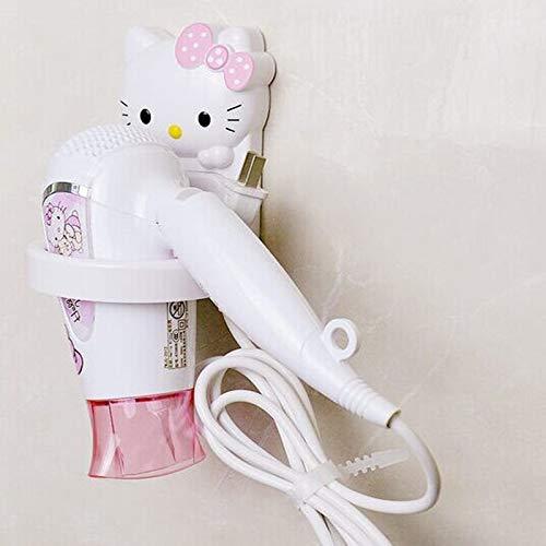 Hello Kitty - Soporte para secador de pelo, estante de baño, estante para colgar en la pared, estante de almacenamiento para accesorios de baño, organizador de 2 piezas